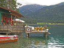 Small restaurant on the lake stock image
