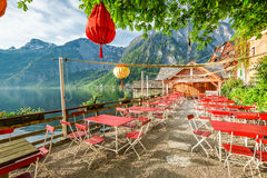 Small restaurant by a lake in Hallstatt, Alps Stock Photography