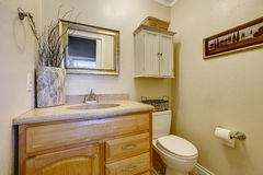 Small restroom interior in american house Royalty Free Stock Image