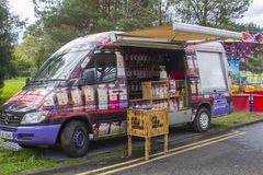 22 April 2018 A small retail confectioners van plying it`s trade at the Spring Festival at Belfast`s Barnett`s Demesne in Northern. A small retail confectioners royalty free stock photos
