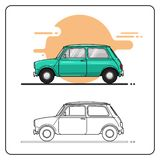Small retro cars side view royalty free illustration