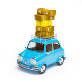 Small retro travel car. Small and cute blue retro travel car on white background Stock Image