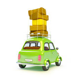 Small retro trip car back Royalty Free Stock Image
