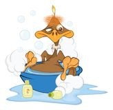 Illustration of a  Cute American Condor Cartoon Character. The small ridiculous brown baby bird of an eagle washes in a bath with foam Stock Photos