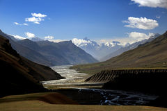 Small river across mountain valley at Northern India Royalty Free Stock Photos