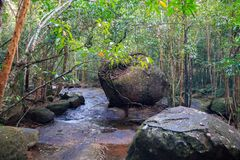 Small river with big stones in jungles, Phu Quoc, Vietnam. Small waterfall jungles phu quoc vietnam river big stones royalty free stock images