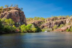 A small river boat at Katherine Gorge, Northern Territory, Austr Royalty Free Stock Photography