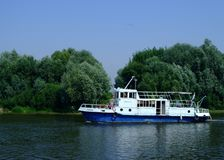 A small river boat on the river Oka. Royalty Free Stock Photos