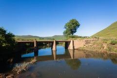 Small River Bridge  Mountains Stock Photo