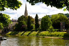 The small river and the church in bath,London. England Stock Photos