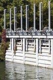 Small river dam stock image