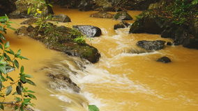 A small river from the Datanla falls in the jungle. Yellow water. stock footage