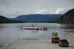 The small river ferry at dawson city Royalty Free Stock Image