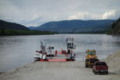 The small river ferry at dawson city Stock Photo