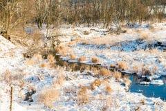 Small river in field Stock Photo