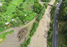 Small river after flood or storm. Aerial view, Romania stock image
