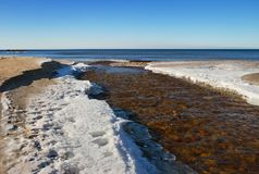 Small river flows into the Baltic sea. Stock Images