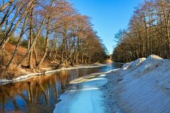 Small river flows  in a spring time. Royalty Free Stock Photography