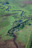 Small river on the green plain Stock Photos