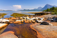 Small river meet Norwegian fjord Royalty Free Stock Photo