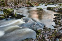 Small river in the middle of forest peacefully flowing in late autumn royalty free stock photos