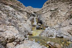 A small river in the mountains stock image