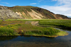 Small river near thermal springs in Landmannalaugar, Iceland Stock Images
