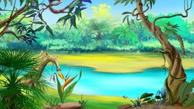 Small River in the Rainforest. In a sunny day. Digital Painting Background, Illustration in cartoon style character Royalty Free Stock Images