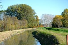 Small river that runs through the countryside in the town of Vigo in the province of Padua in Veneto (Italy) Royalty Free Stock Photography