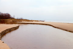 Small river and sea. Royalty Free Stock Photography