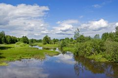 The small river Sherna, Russia Royalty Free Stock Photography