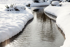 Small river in snow day Stock Photo