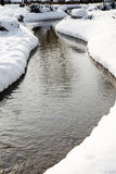 Small river in snow day Royalty Free Stock Photo
