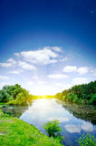 Small River , Sun And Blue Sky. Royalty Free Stock Image