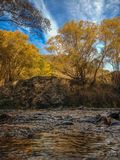 Small river on a sunny autumn day near Queenstown, New Zealand stock image