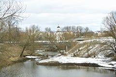 Small river Tmaka and church Stock Image