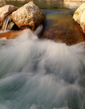 Small river waterfall. The flowing water of a river royalty free stock photos