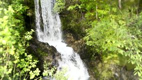Small river waterfall running in green tree mountain cliff forest in beautiful 4k steady wild nature landscape shot stock video footage