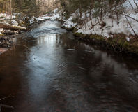 Small river in winter Royalty Free Stock Photos