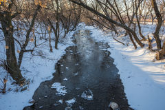 Small river in winter sunny day Royalty Free Stock Photo