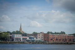 Small Riverfront Town Stock Images