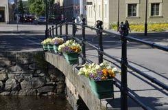 Small Road Bridge in Kristinehamn, Sweden. Flower ornaments at small road bridge in Kristinehamn, Sweden Royalty Free Stock Photography