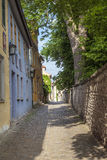 Small road with facade of medieval houses in Weimar Stock Photos