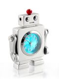 Small Robot Clock. Macro, isolated with reflection stock images