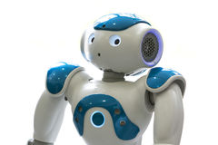 Small robot with human face and body. AI Stock Photography