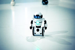 Small robots, humanoid with small wheels instead of legs and luminous eyes. Small robots, humanoid with small wheels instead of legs and luminous eyes close-up Stock Images