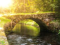 Small rock bridge over forest channel, Vchynice-Tetov Transport Channel, Sumava, aka Bohemian Forest, Czech Republic stock image