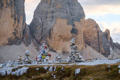 Small rock cairn in Dolomites alps mountains Royalty Free Stock Photography