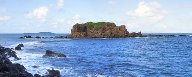 Small rock island in Caribbean Royalty Free Stock Image