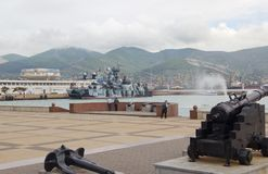 Small rocket ship on an air pillow `Samum`. NOVOROSSIYSK, RUSSIA- MAY 10, 2015: Small rocket ship on an air pillow `Samum` in Novorossiysk. Black sea fleet naval Royalty Free Stock Photography